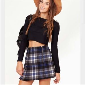 MinkPink Plaid zipper skirt